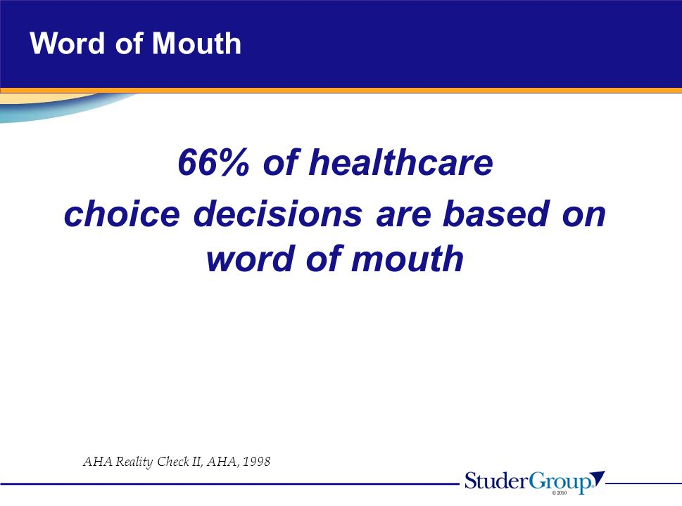 Word of Mouth 66% of healthcare choice decisions are based on word of mouth AHA Reality Check II, AHA, 1998