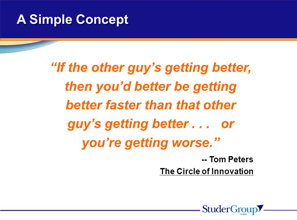 """A Simple Concept """"If the other guy's getting better, then you'd better be getting better faster than that other guy's getting better... or you're gett"""