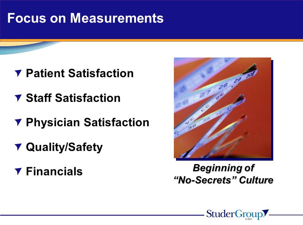"""Focus on Measurements Patient Satisfaction Staff Satisfaction Physician Satisfaction Quality/Safety Financials Beginning of """"No-Secrets"""" Culture"""