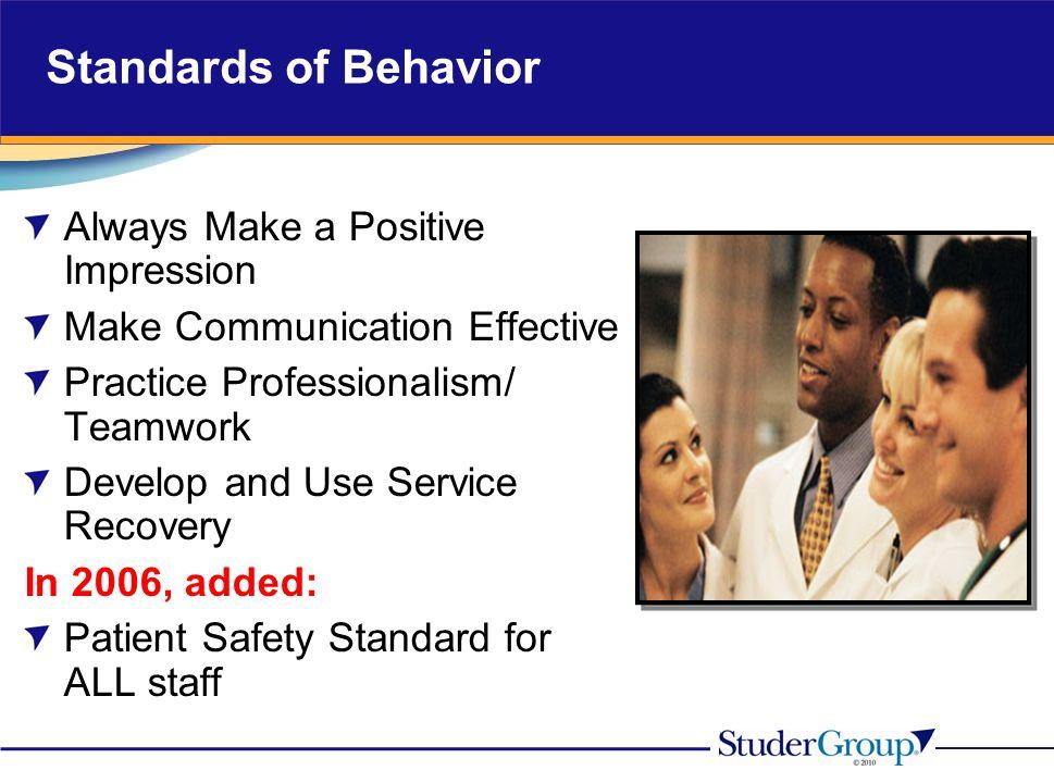 Standards of Behavior Always Make a Positive Impression Make Communication Effective Practice Professionalism/ Teamwork Develop and Use Service Recove