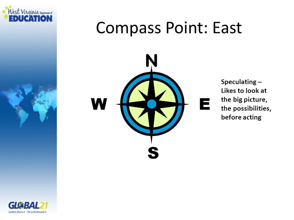 Compass Point: East Speculating – Likes to look at the big picture, the possibilities, before acting