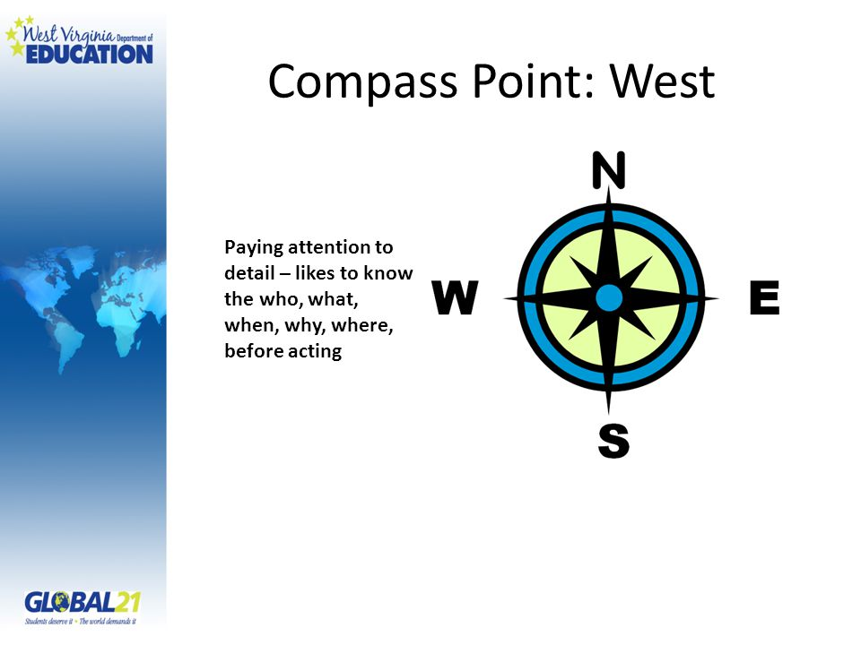 Compass Point: West Paying attention to detail – likes to know the who, what, when, why, where, before acting