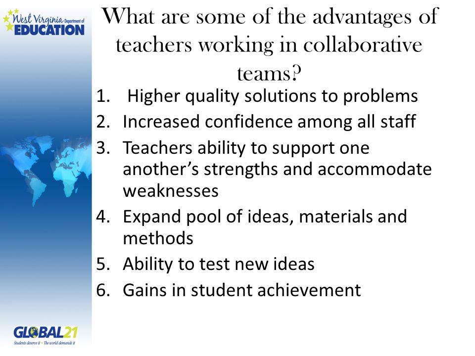 What are some of the advantages of teachers working in collaborative teams.