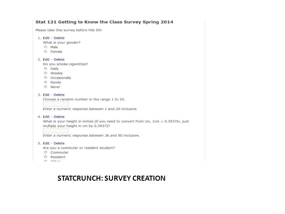 STATCRUNCH: SURVEY CREATION