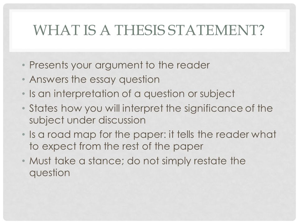 THESIS STATEMENT (EXAMPLE) Question: Compare and contrast reading for pleasure and academic reading.