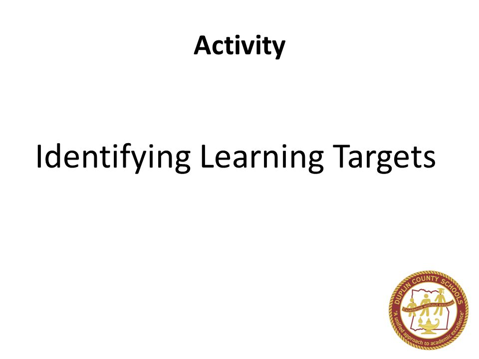 Activity Identifying Learning Targets