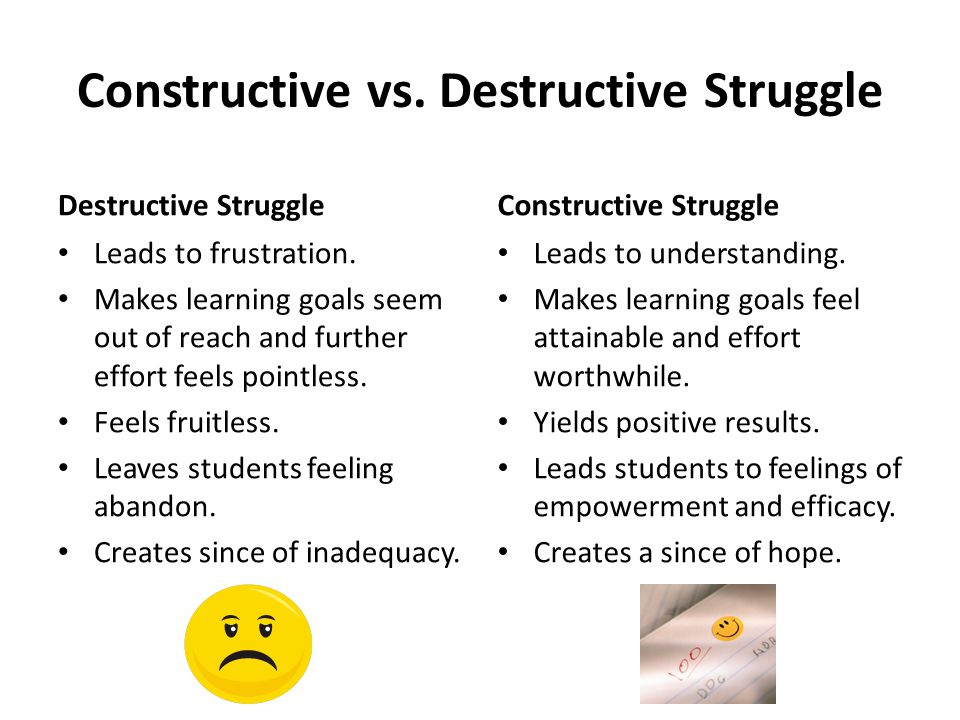 Constructive vs. Destructive Struggle Destructive Struggle Leads to frustration.