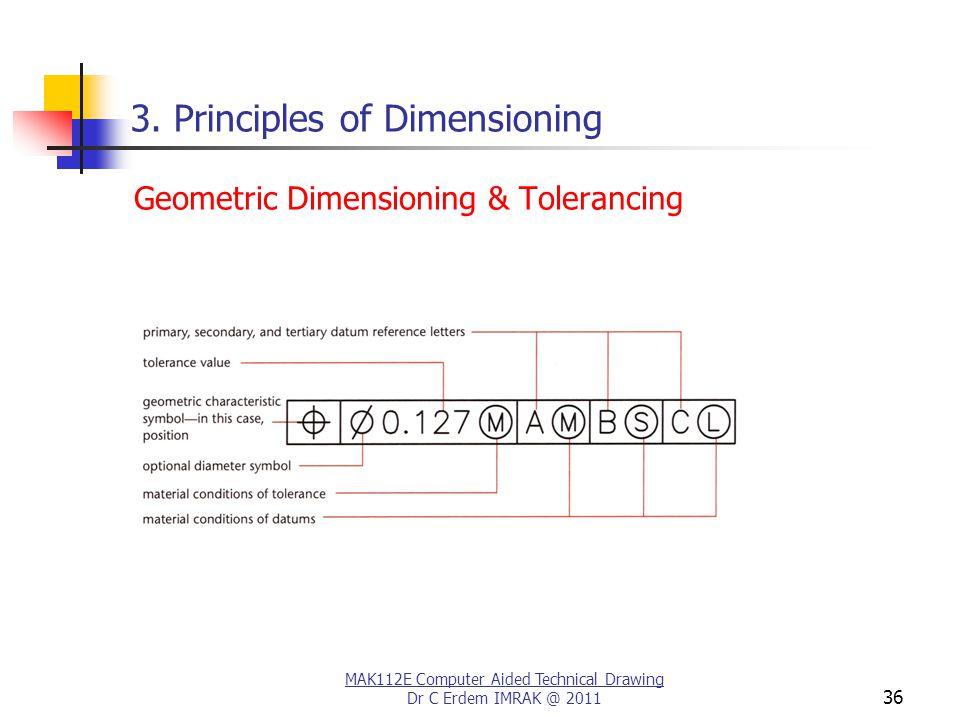 MAK112E Computer Aided Technical Drawing Dr C Erdem IMRAK @ 2011 36 3.