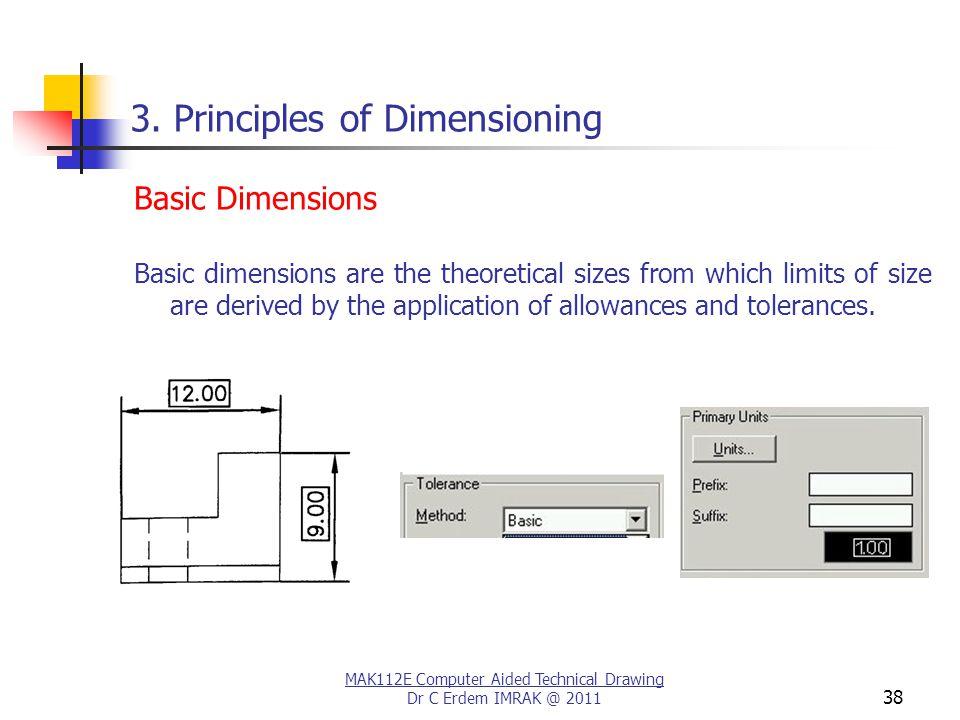 MAK112E Computer Aided Technical Drawing Dr C Erdem IMRAK @ 2011 38 3.