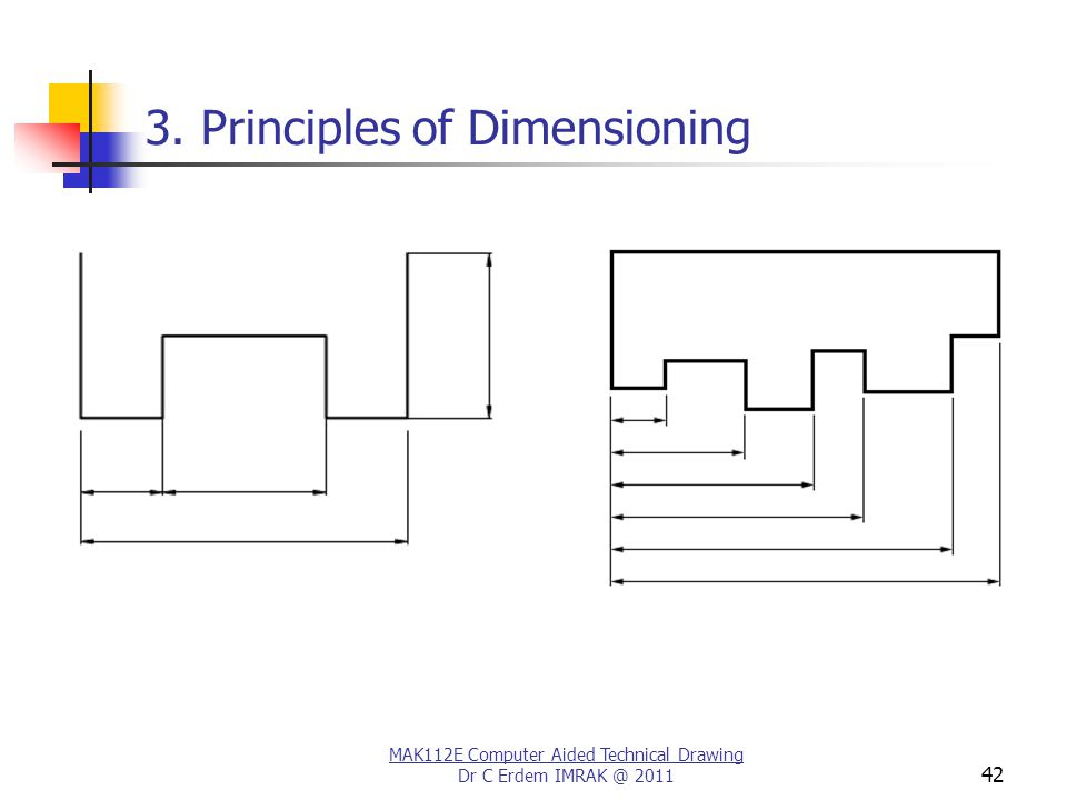MAK112E Computer Aided Technical Drawing Dr C Erdem IMRAK @ 2011 42 3. Principles of Dimensioning