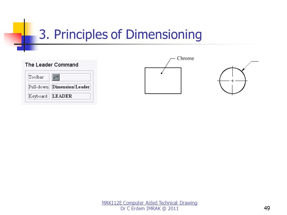 MAK112E Computer Aided Technical Drawing Dr C Erdem IMRAK @ 2011 49 3. Principles of Dimensioning