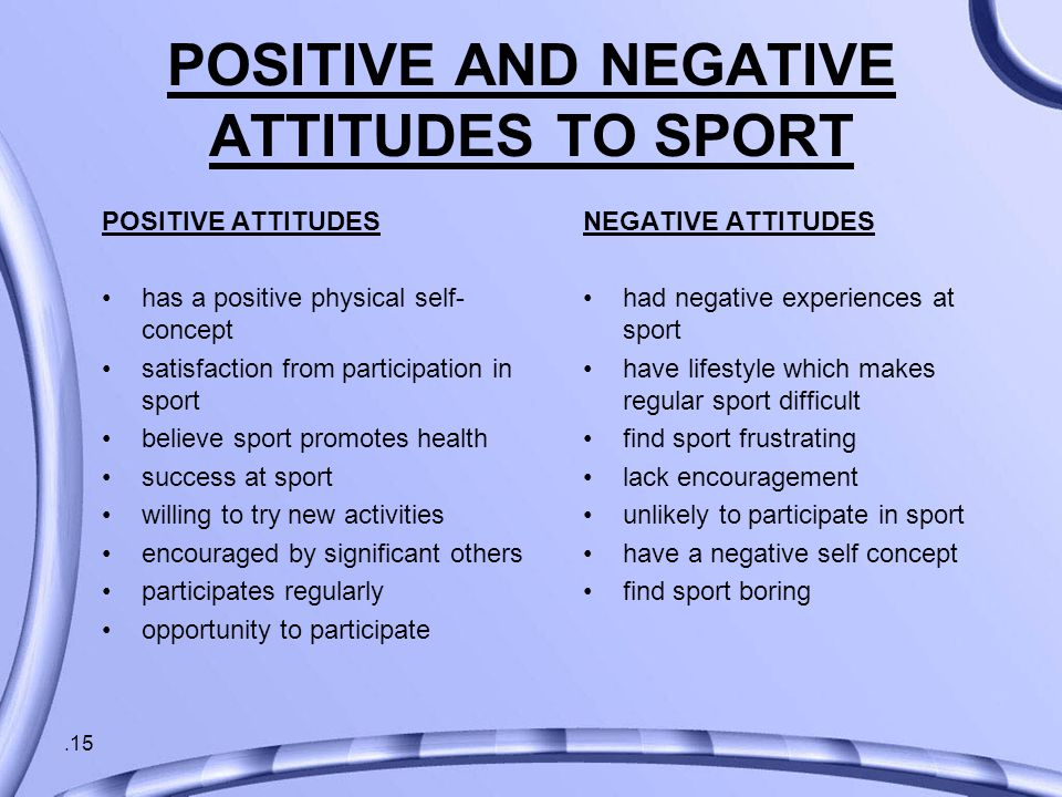 .15 POSITIVE AND NEGATIVE ATTITUDES TO SPORT POSITIVE ATTITUDES has a positive physical self- concept satisfaction from participation in sport believe sport promotes health success at sport willing to try new activities encouraged by significant others participates regularly opportunity to participate NEGATIVE ATTITUDES had negative experiences at sport have lifestyle which makes regular sport difficult find sport frustrating lack encouragement unlikely to participate in sport have a negative self concept find sport boring