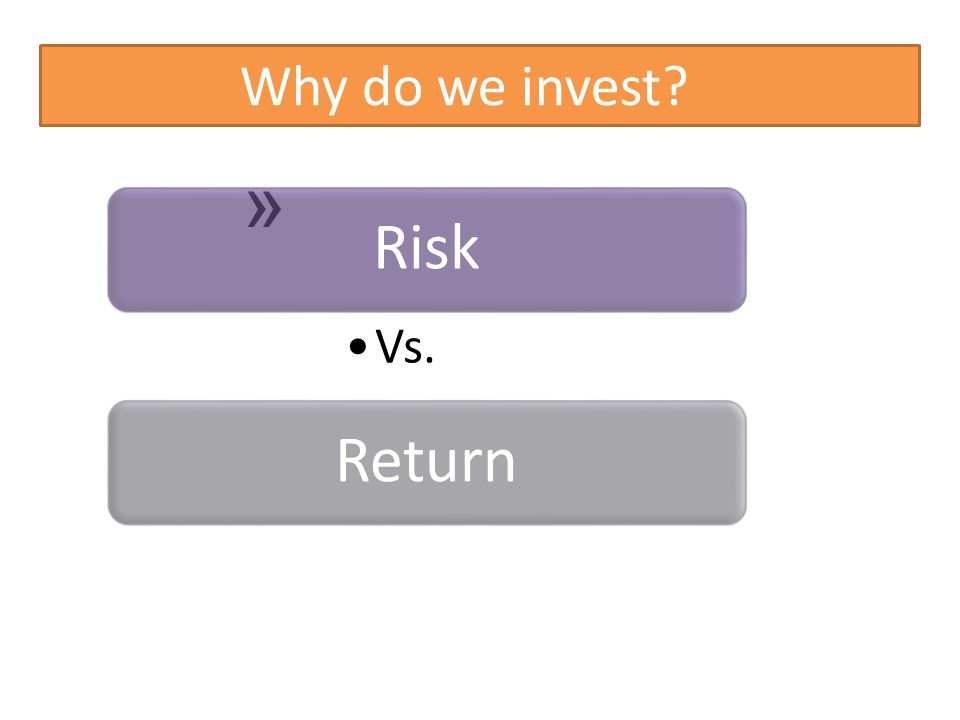 Why do we invest? » Risk Vs. Return