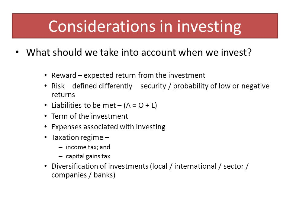 Investment premia Consider investments differently.