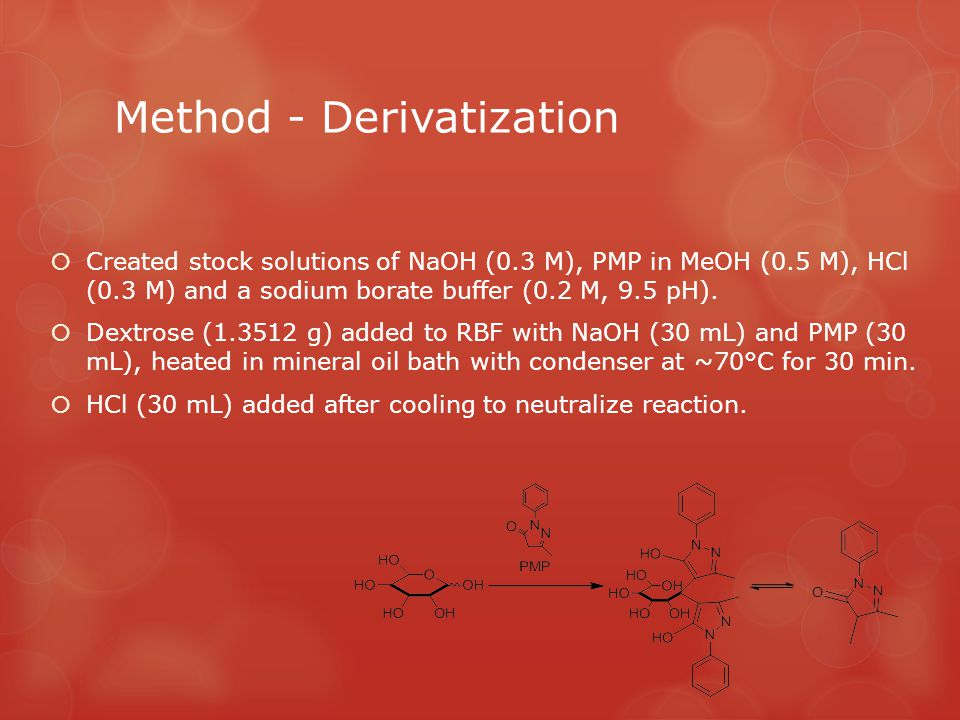 Method - Derivatization  Created stock solutions of NaOH (0.3 M), PMP in MeOH (0.5 M), HCl (0.3 M) and a sodium borate buffer (0.2 M, 9.5 pH).