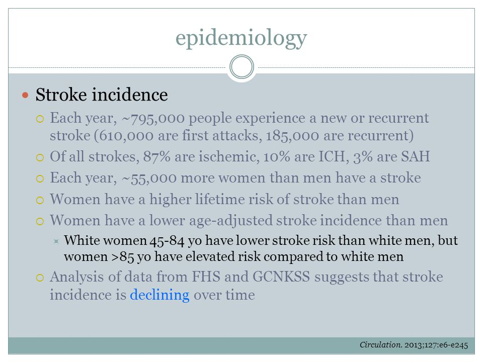 epidemiology Stroke incidence  Each year, ~795,000 people experience a new or recurrent stroke (610,000 are first attacks, 185,000 are recurrent)  O