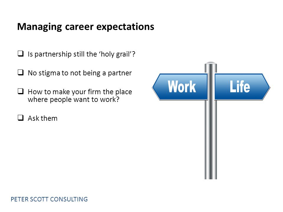 Managing career expectations  Is partnership still the 'holy grail'.