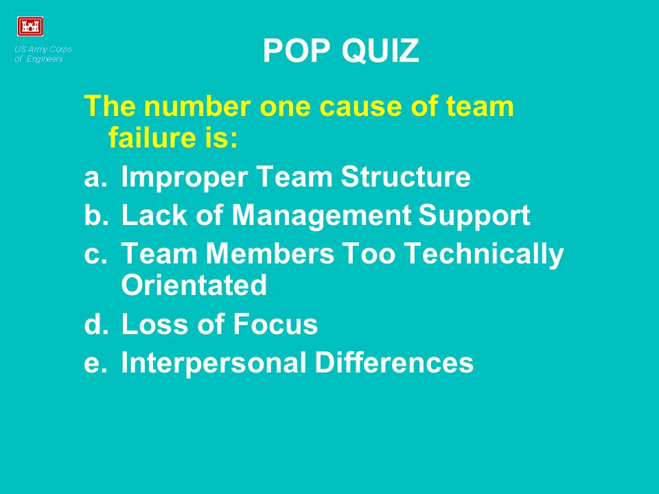The number one cause of team failure is: a.Improper Team Structure b.Lack of Management Support c.Team Members Too Technically Orientated d.Loss of Fo