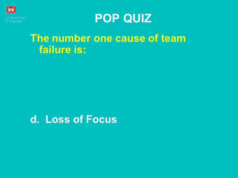 POP QUIZ The number one cause of team failure is: d. Loss of Focus