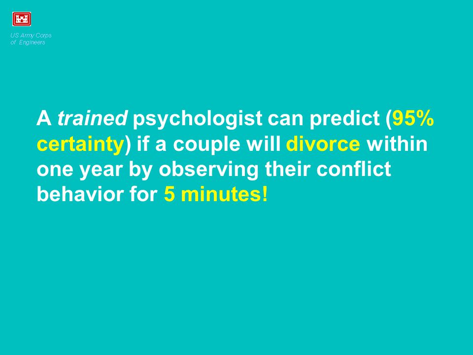 A trained psychologist can predict (95% certainty) if a couple will divorce within one year by observing their conflict behavior for 5 minutes!
