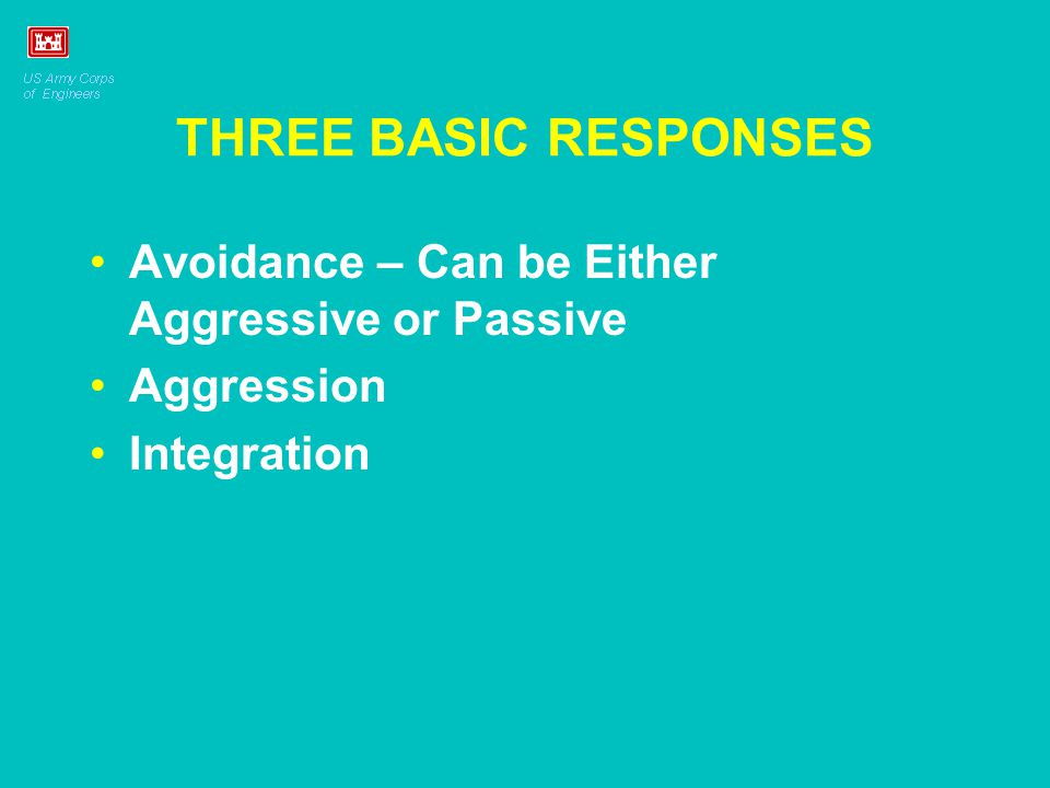 THREE BASIC RESPONSES Avoidance – Can be Either Aggressive or Passive Aggression Integration