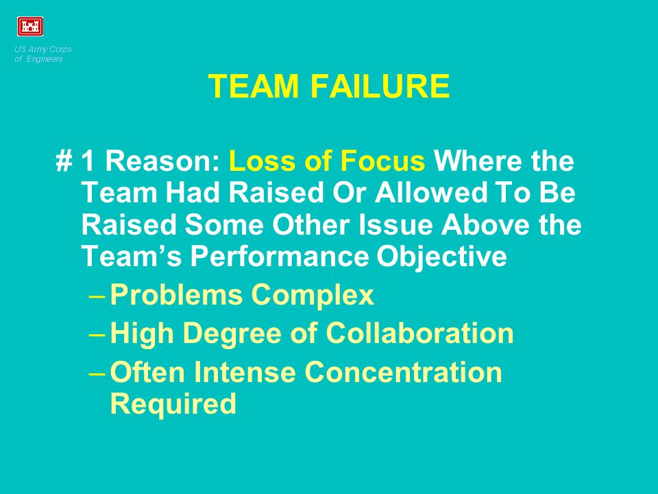 TEAM FAILURE # 1 Reason: Loss of Focus Where the Team Had Raised Or Allowed To Be Raised Some Other Issue Above the Team's Performance Objective –Prob