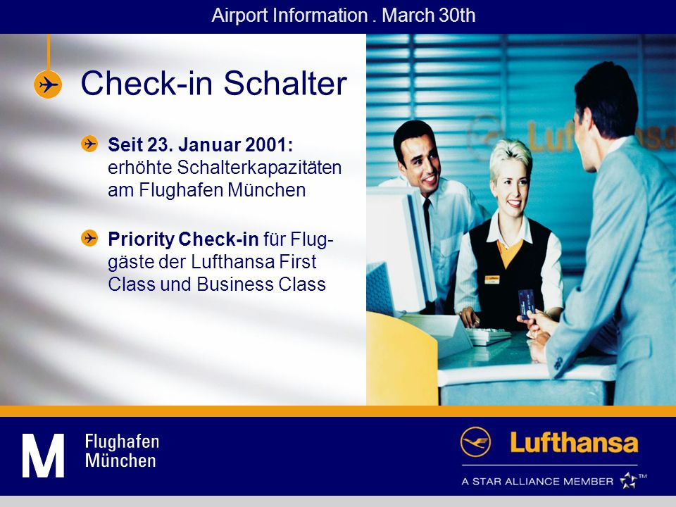 Check-in counters Starting 23.