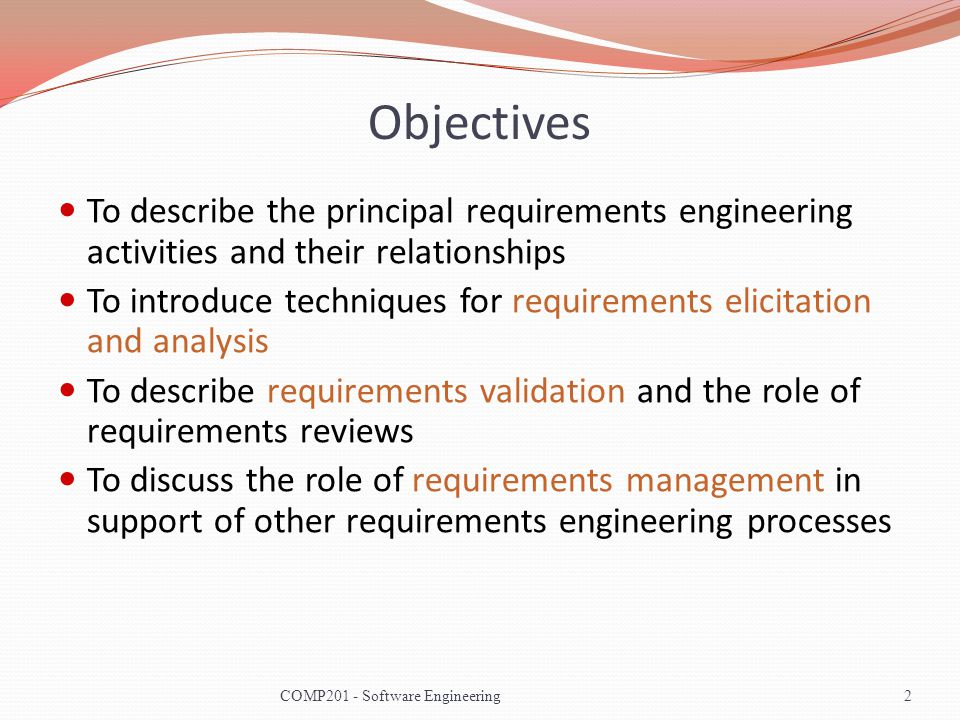 Requirements Engineering Processes The processes used for requirements engineering vary widely depending on the application domain, the people involved and the organisation developing the requirements.