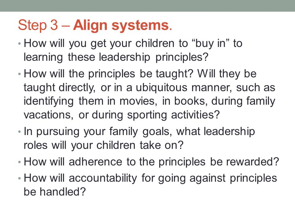 Step 3 – Align systems.