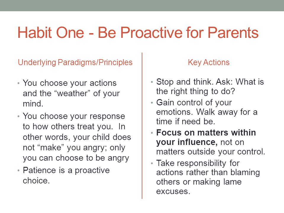 Habit One - Be Proactive for Parents Underlying Paradigms/Principles You choose your actions and the weather of your mind.