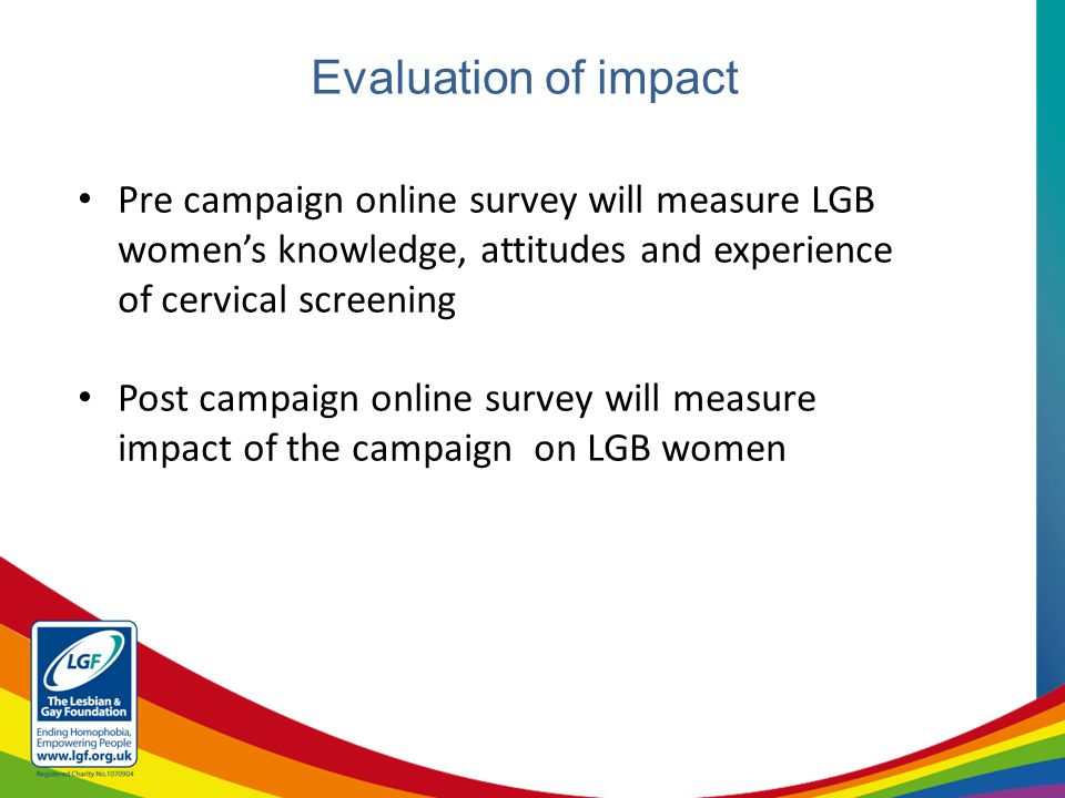 Evaluation of impact Pre campaign online survey will measure LGB women's knowledge, attitudes and experience of cervical screening Post campaign online survey will measure impact of the campaign on LGB women