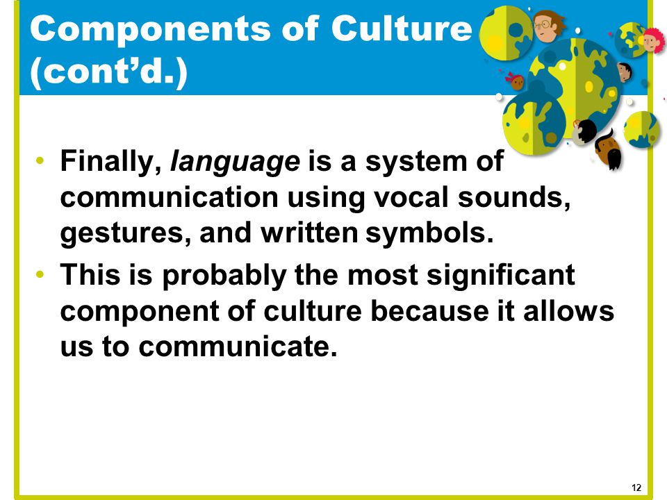 Components of Culture (cont'd.) Finally, language is a system of communication using vocal sounds, gestures, and written symbols. This is probably the