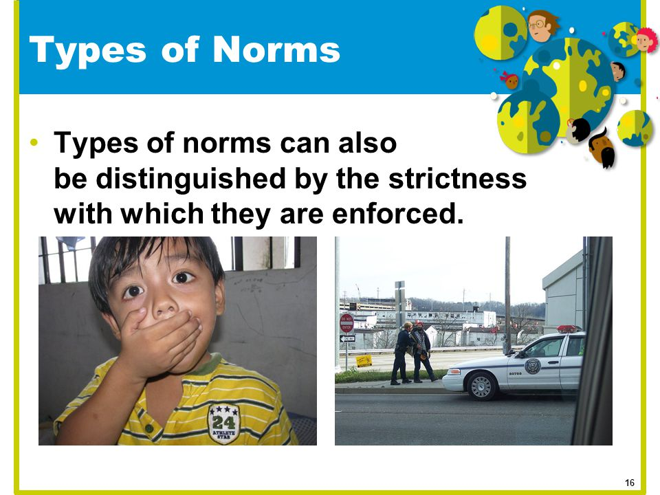 Types of Norms Types of norms can also be distinguished by the strictness with which they are enforced. 16