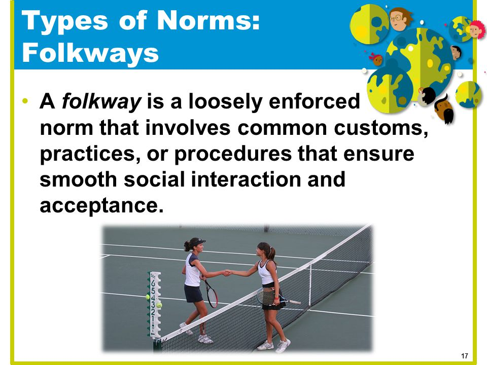 Types of Norms: Folkways A folkway is a loosely enforced norm that involves common customs, practices, or procedures that ensure smooth social interac