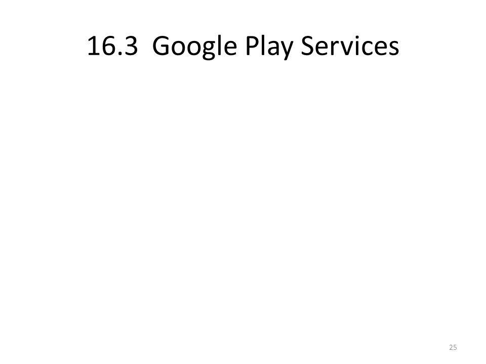 16.3 Google Play Services 25