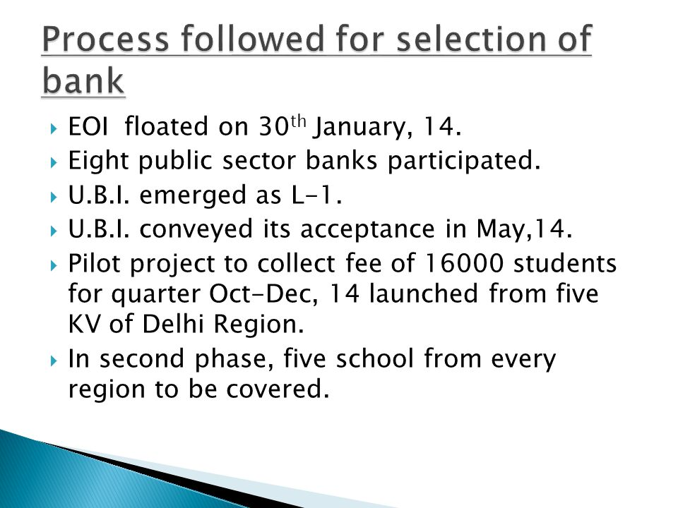  EOI floated on 30 th January, 14.  Eight public sector banks participated.  U.B.I. emerged as L-1.  U.B.I. conveyed its acceptance in May,14.  P