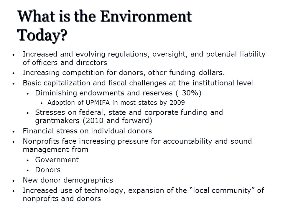 What is the Environment Today.