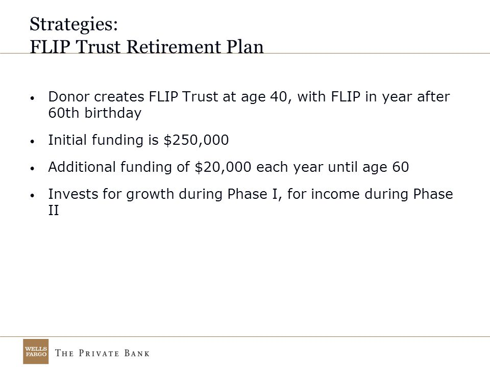 Strategies: FLIP Trust Retirement Plan Donor creates FLIP Trust at age 40, with FLIP in year after 60th birthday Initial funding is $250,000 Additional funding of $20,000 each year until age 60 Invests for growth during Phase I, for income during Phase II