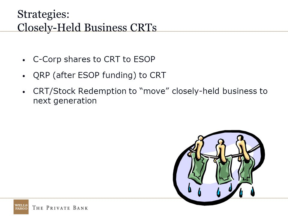 Strategies: Closely-Held Business CRTs C-Corp shares to CRT to ESOP QRP (after ESOP funding) to CRT CRT/Stock Redemption to move closely-held business to next generation