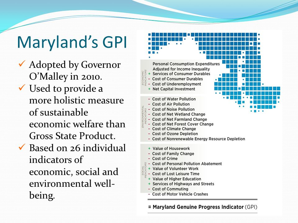 Maryland's GPI Adopted by Governor O'Malley in 2010. Used to provide a more holistic measure of sustainable economic welfare than Gross State Product.