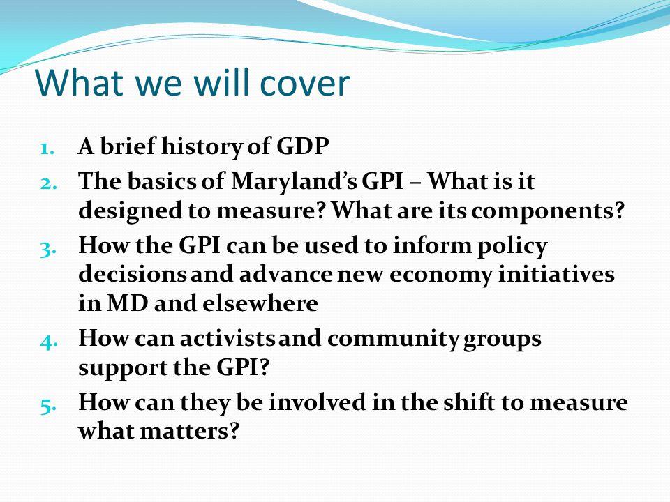 Maryland GPI vs. GSP 1960 - 2010 Gross State Product GPI