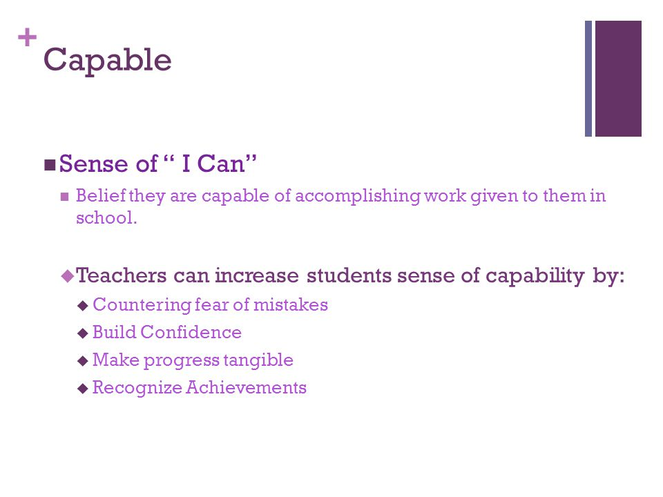 + Capable Sense of I Can Belief they are capable of accomplishing work given to them in school.