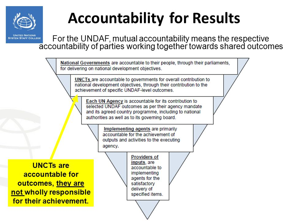Accountability for Results For the UNDAF, mutual accountability means the respective accountability of parties working together towards shared outcome