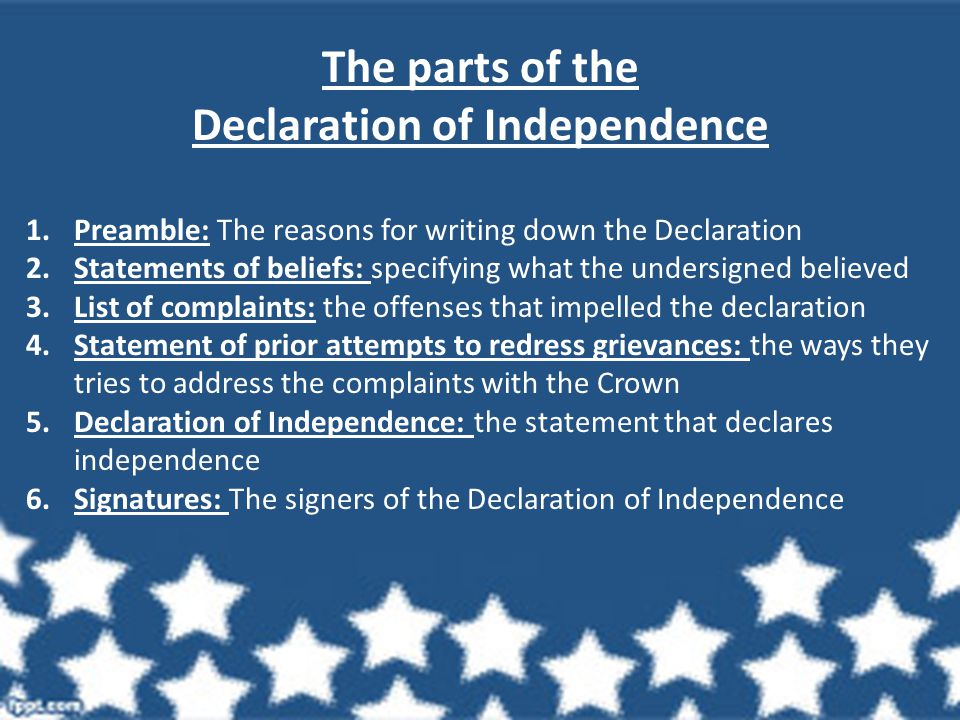 The parts of the Declaration of Independence 1.Preamble: The reasons for writing down the Declaration 2.Statements of beliefs: specifying what the undersigned believed 3.List of complaints: the offenses that impelled the declaration 4.Statement of prior attempts to redress grievances: the ways they tries to address the complaints with the Crown 5.Declaration of Independence: the statement that declares independence 6.Signatures: The signers of the Declaration of Independence
