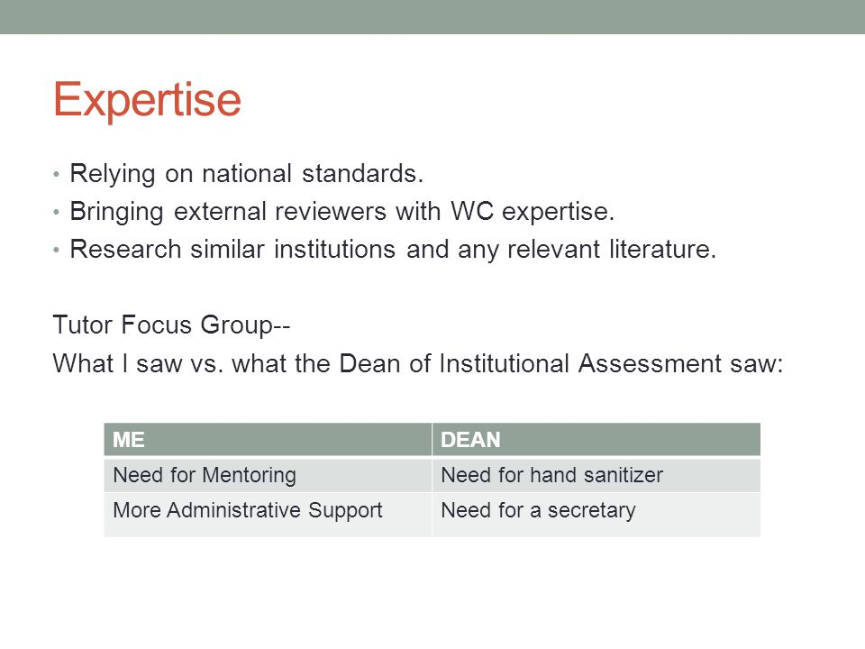 Expertise Relying on national standards. Bringing external reviewers with WC expertise.