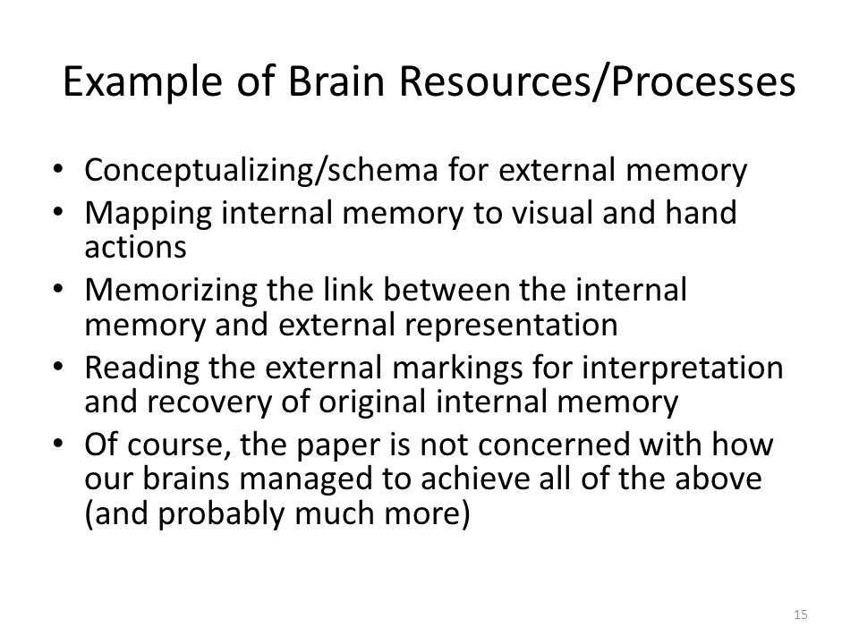 15 Example of Brain Resources/Processes Conceptualizing/schema for external memory Mapping internal memory to visual and hand actions Memorizing the link between the internal memory and external representation Reading the external markings for interpretation and recovery of original internal memory Of course, the paper is not concerned with how our brains managed to achieve all of the above (and probably much more)