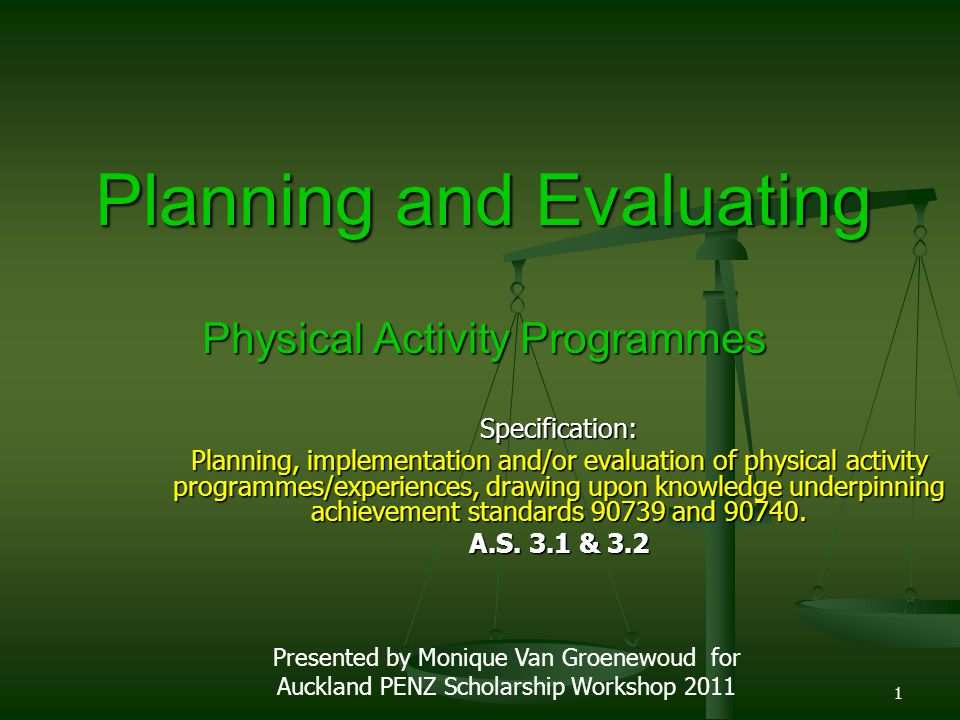 Specification: Planning, implementation and/or evaluation of physical activity programmes/experiences, drawing upon knowledge underpinning achievement