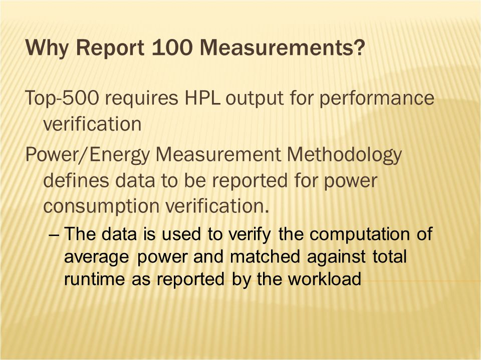 Why Report 100 Measurements.