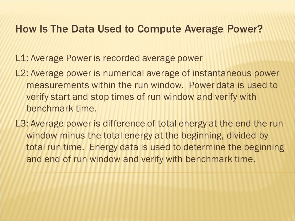 How Is The Data Used to Compute Average Power.