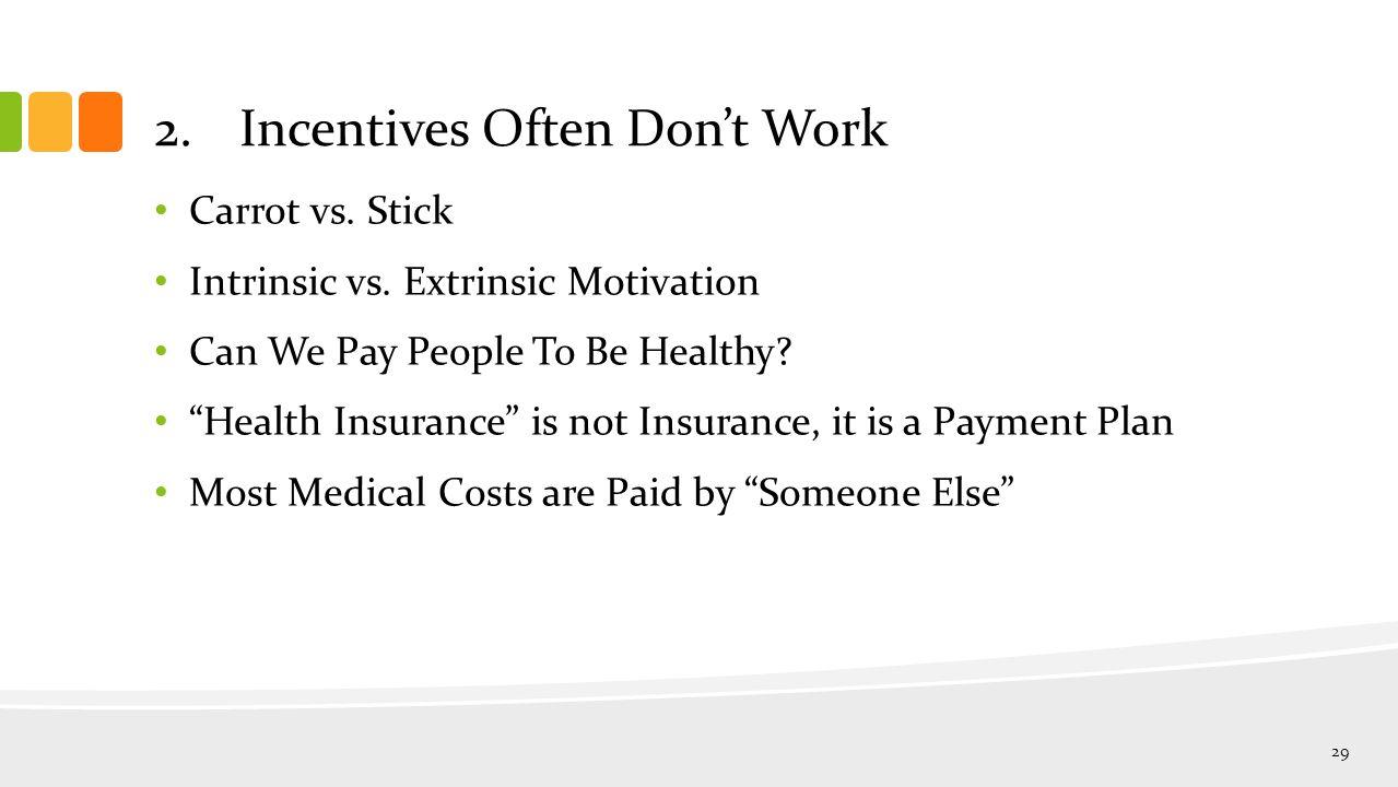 2.Incentives Often Don't Work Carrot vs. Stick Intrinsic vs.